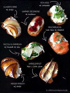 Appetizers Recipes Crostini are the perfect finger food: colorful, creative, delicious, sweet & savory, . Party Finger Foods, Snacks Für Party, Appetizers For Party, Appetizer Recipes, Fingerfood Party, Tapas Recipes, Crostini, Sprout Recipes, Food Blogs