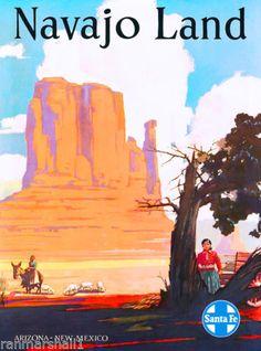 Navajo-Land-Arizona-New-Mexico-United-States-Travel-Advertisement-Art-Poster