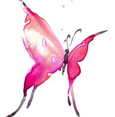 """Pink Butterfly Painting, Abstract Butterfly Art, Original abstract watercolor painting """"Butterfly Song 10"""" by Kathy Morton Stanion EBSQ"""