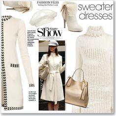 Cozy and cute: sweater dresses by faten-m-h on Polyvore featuring Diane Von Furstenberg, Ann Demeulemeester, Jennifer Lopez, MICHAEL Michael Kors, kangol, SANCHEZ and sweaterdresses