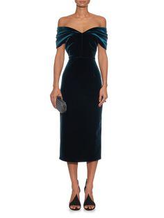 Off-the-shoulder velvet midi dress   Emilio De La Morena   MATCHESFASHION.COM