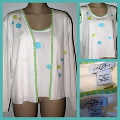 MING WANG 2-pc Sweater Set Misook Type - White/Lime/Aqua XL New #MingWang #TwinsetSweaterSet