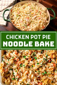 Chicken Pot Pie Noodle Bake - The ingredients and how to make it please visit the website Cheesy Pasta Recipes, Pasta Dinner Recipes, Healthy Pasta Recipes, Healthy Pastas, Easy Chicken Recipes, Seafood Recipes, Pasta Lunch, Noodle Recipes, Pasta Salad