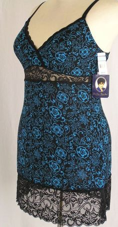 Delta Burke Plus Size Lingerie Sleep Slip Nightgown Blue Bloom w/ Black Lace NEW