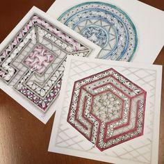 6 Salted Pink Labyrinth™ Stencil Set of 3 Zentangle Drawings, Zentangle Patterns, Zentangles, Tangle Doodle, Doodle Art, Mandala Design, Mandala Art, Zen Art, Tangled
