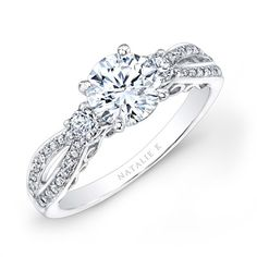 Dream Engagement Ring: infinity twist micropave,4 prong head, simple round cut! ♥
