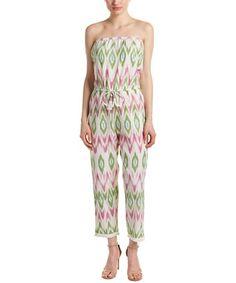 Barth Garudi Jumpsuit In Green Calypso St Barth, Fringe Trim, Size Model, Ikat, Drawstring Waist, Color Patterns, Jumpsuit, Slip On, Green
