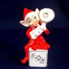 1950s Napco Pixie Elf With Tuba Figurine