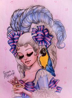 Marie Antoinette , matite colorate su carta Serena Solange Carluccio #mariaantonietta# #Queen# #drawing#