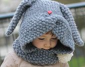 Rabbit Hood Knitting Pattern ZAÏKA (Toddler, Child sizes)