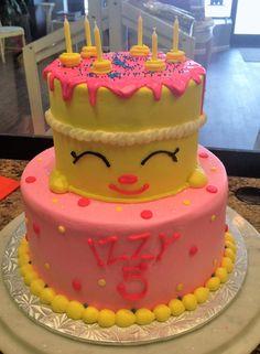 Pink And Yellow Emoji Tiered Cake