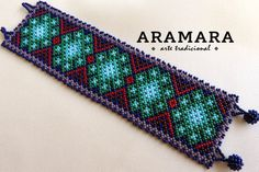 Mexican Huichol Beaded Peyote Bracelet PG-0006 Mexican by Aramara