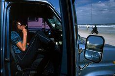 Constantine Manos : american color photo of man smoking in truck Venice Beach, Miami Beach, Color Photography, Photography Tutorials, Street Photography, Bangor, Coney Island, Magnum Photos, Salisbury