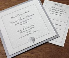 Elegant seashell framed wedding invitation in silver foil stamping with matching silver paper layer.  | Invitations by Ajalon | invitationsbyajalon.com