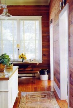 Clean White Trim To Brighten Up The Dark Paneling Unpainted Dining Room Pine Wallswood