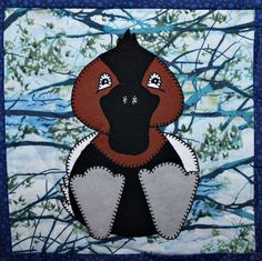 Canvasback duck PDF applique quilt block pattern; whimsical child's or baby quilt pattern; forest or woodlands animal quilt applique pattern by MsPDesignsUSA on Etsy