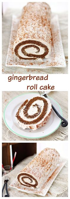 Moist gingerbread roll cake filled with spiced creamy filling. A delicious twist on the traditional Christmas gingerbread cake.