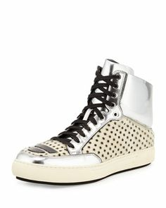 Metallic Leather & Calf Hair High-Top Sneaker, White/Silver by Alejandro Ingelmo at Neiman Marcus.