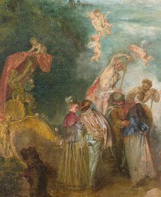 """Pilgrimage on the Isle of Cythera detail Jean-Antoine Watteau - -"" Action Painting, Hand Painting Art, House Painting, Jean Antoine Watteau, Louvre Museum, Oil On Canvas, Canvas Art, Cleveland Museum Of Art, Paris Pictures"