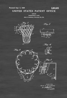 A patent print poster of a basketball hoop patent (called Basketball Goal in the…