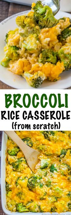 This Broccoli Rice Casserole is made from scratch (and contains no condensed soup). Fresh crisp broccoli and fluffy rice come together in a creamy cheesy homemade sauce to create a family favorite sid(Broccoli Rice Recipes) Side Dish Recipes, Vegetable Recipes, Vegetarian Recipes, Chicken Recipes, Dinner Recipes, Cooking Recipes, Broccoli Recipes, Broccoli Dishes, Vegetarian Casserole