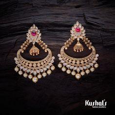Trendy Design CZ #Zircon #earrings studded with White stones, plated with #gold Polish.#kushalfashionjewellery