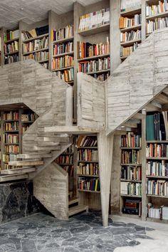 Inventive bookshelf design from Bibliostyle! #books #bookish #bookshelfstyling Classic Library, Modern Library, Pedro Reyes, Ceiling Shelves, Shelving, Bookcase Organization, Pile Of Books, Bookshelf Design, Bookshelves
