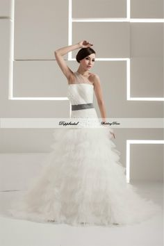 Wholesale netting A Line Strapless Crystal Flowers Floor length Wedding Dress Custom made Plus size  WD69183