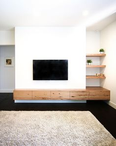 """Timberwolf Design on Instagram: """"If you were following this build on our IG Story... it fit like a glove! These clients topped the list for the longest Floating TV Unit…"""" Floating Wall Unit, Floating Tv Cabinet, Floating Shelf Under Tv, Floating Tv Stand, Modern Tv Cabinet, Tv Unit Design, Armoires Murales Tv, Built In Tv Wall Unit, Wall Units"""