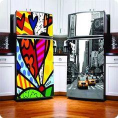 Nice stickers- New fridge! Refrigerator Decoration, Fridge Decor, Fridge Makeover, Art Deco Kitchen, Retro Fridge, Higher Design, Beautiful Space, Home Decor Accessories, Fridge Stickers