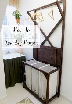 The Project Lady - DIY Tutorial for Making your own Laundry Sorting Hamper Hanging Rod. The Project Lady - DIY Tutorial for Making your own Laundry Sorting Hamper Hanging Rod. Furniture Projects, Wood Projects, Diy Furniture, Refurbishing Furniture, Furniture Storage, Bathroom Furniture, Office Furniture, Laundry Room Organization, Laundry Room Design