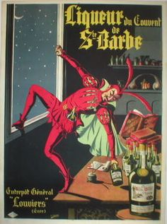 Liqueur St. Barbe original poster by Conchon 1905 France. Vintage posters at Spencer Weisz Gallery in Chicago. Shop original wine posters on line. www.Antiqueposters.com
