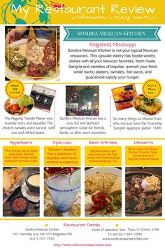 Hungry for some yummy upscale Mexican in Ridgeland, Mississippi? Look no further than the classy Sombra Mexican Kitchen. Check out these awesome specialty items!