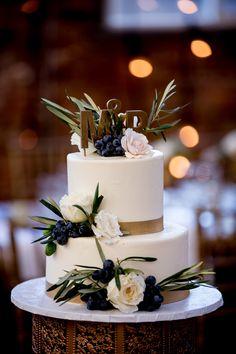 wedding cake with eucalyptus - photo by Victoria Sprung Photography http://ruffledblog.com/glam-chicago-wedding-with-art-deco-details #weddingcake #cakes