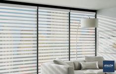 Hunter Douglas Designer Banded Shades | Available at Avalon Flooring | #windowshades #windowtreatments #hunterdouglas #windowcoverings