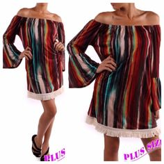 PRETTY MULTI COLOR TUNIC OR DRESS Cute, crazy striped dress with fringe and flared sleeves. Elastic neckline, may be worn on or off shoulder. 95% polyester/5% spandex. Made in USAPLEASE DO NOT BUY THIS LISTING! I will personalize one for you. tla2 Dresses