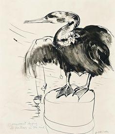 Brett Whiteley ~ Cormorant, 1971 (pen and ink on paper) Australian Birds, Australian Artists, Avant Garde Artists, Art Lessons For Kids, Drawing Projects, Beautiful Drawings, White Art, Bird Art, Line Drawing