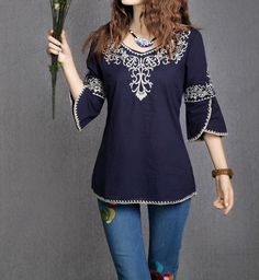2017 New Fashion Women Plus Size Three Quarter Sleeve Blouse Embroidery Floral Casual Shirts Blouse 162I 25