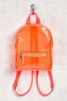 Product Name:Faux Leather Trim Clear Backpack, Category:ACC_Handbags, Clear Backpacks, Orange Backpacks, Stylish Backpacks, Cute Backpacks, Bags Online Shopping, Online Bags, Shopping Bag, Backpack Purse, Leather Backpack