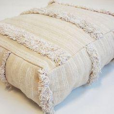 HANDIRA POUF  Handier pouf, handmade from, by an El Ramla Hamra selected vintage wedding blanket.  The story behind the Moroccan wedding blanket
