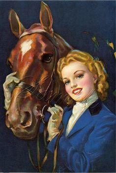 artistic vintage pin up art | vintage EQUESTRIAN HORSE pin-up calendar girl English riding attire ...