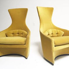 Brand new to shop- amazingly unique vintage yellow armchairs - $1995 for the pair at Scout Design Studio. We think even #kellywearstler would go ga ga over these!