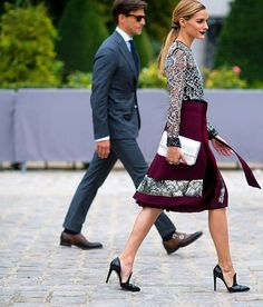 """Beautiful dressy outfit. Love the lacey blouse and full skirt. Gorgeous holiday color palette, and love the pop of velvet on the skirt. Heels too high for me but I like their """"menswear"""" loafer feel."""