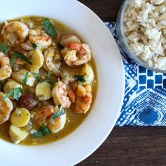 Hearty shrimp stew featuring comforting potatoes combined with a silky rich shrimp stock with spicy undertones.