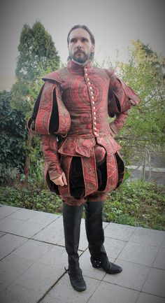 England, 1st half of 16th century, tudor renaissance, brocade from Italy, velvet, shirt with black work hand embroidery, leather waistcoat