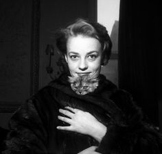 Jeanne Moreau and her cat.