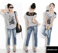 Womens O-Neck Lace Patchwork Short Sleeve Gray Tshirt