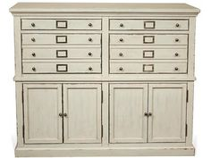 Constructed of Poplar solid and Birch veneer. Two top drawers have dovetail joinery, ball bearing extension guides and felt lined bottoms.