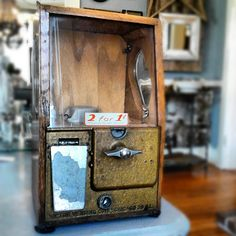 super cool wooden gumball machine  Scarlett Scales Antiques - Franklin, Tennessee Hip Antique Boutique