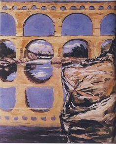 Pont du Gard by Winston Churchill Winston Churchill, Churchill Paintings, Pont Du Gard, Art Database, World War I, Impressionism, Les Oeuvres, Contemporary Art, Culture